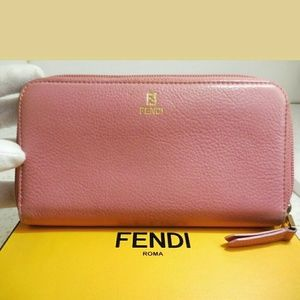 Auth Fendi baby pink zippy long wallet